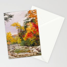 Autumn tints & foliage in the White Mountains, New Hampshire landscape nature painting by Marianne North Stationery Cards