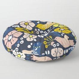 Blue wellness garden - florals matching to design for a happy life Floor Pillow