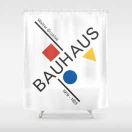 Bauhaus Movement Poster Artwork, 1919 Walter Gropius Reproduction, tshirt, tee, jersey, poster, artw Shower Curtain