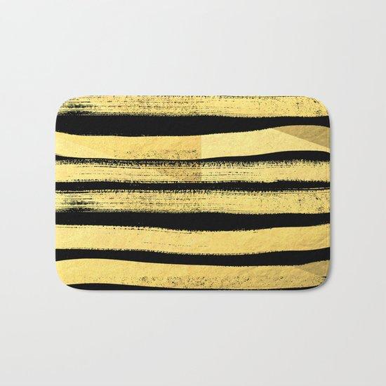 Sochie - black gold minimal black and white modern retro bold dramatic cell phone iphone case trendy Bath Mat