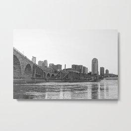 Minneapolis Black and White Skyline-Minnesota Metal Print