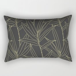 Elegant bamboo foliage gold strokes design Rectangular Pillow