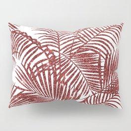 Tropical marsala red faux glitter palm tree pattern Pillow Sham