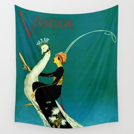 Vintage 1920's Jazz Age Flapper with White Peacock Fashion Poster Wall Tapestry