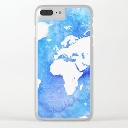 Worl map Ocean Clear iPhone Case