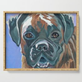 Boone the Boxer Dog Portrait Serving Tray