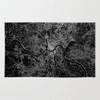 cincinnati Area & Throw Rugs featuring Cincinnati map by Line Line Lines