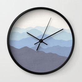 Abstract, Blue, Landscape, Scandinavian, Modern art, Art, Minimal, Wall art Print Wall Clock