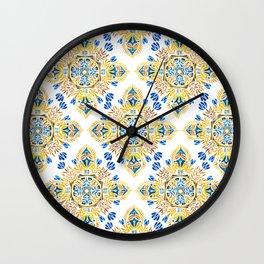 Wheat field with cornflower - mandala pattern Wall Clock