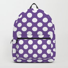 White Polka Dots with Purple Background Backpack