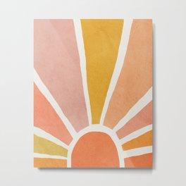 Sun, Mid century modern kids wall art, Nursery room Metal Print
