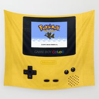 gameboy Wall Tapestries featuring The Yellow Gameboy by bimorecreative