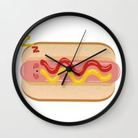 hot dog Wall Clocks featuring hot dog by Alba Blázquez