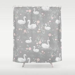 Swans painting cute girly trend cell phone case with swans pattern florals hand painted Shower Curtain