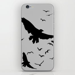 FLOCK OF RAVENS IN GREY SKY iPhone Skin