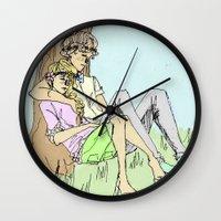 les mis Wall Clocks featuring JehanxCourfeyrac Les Mis by Pruoviare