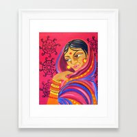 hindu Framed Art Prints featuring Hindu Woman by IlyLilyArt