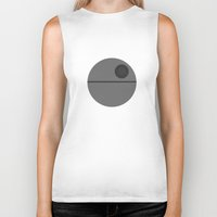 death star Biker Tanks featuring Star Wars Minimalism - Death Star by Casa del Kables