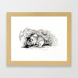 The Guinea Pig Heroically Battles the Mighty Dragon Framed Art Print