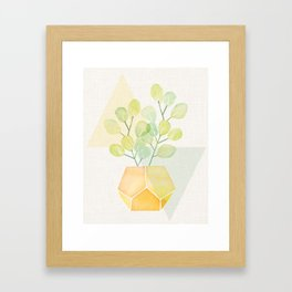 House Plant on Geometric Abstract Framed Art Print