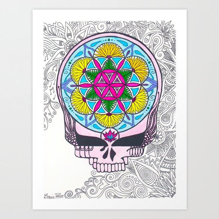 grateful dead sacred geometry stealie art print - Grateful Dead Coloring Book