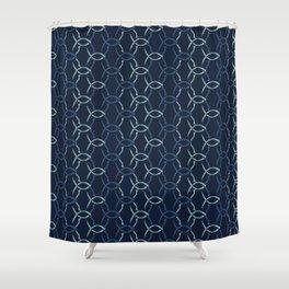 Indigo Blue Net Pattern Hand Drawn Interlocking Shower Curtain