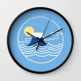 Minimalist Ocean Great Wave mount Fuji Wall Clock