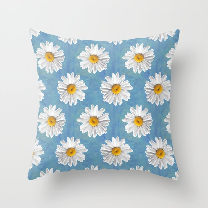 Daisy Blues Pattern On Cornflower Blue Throw Pillow By Tangerinetane Society6