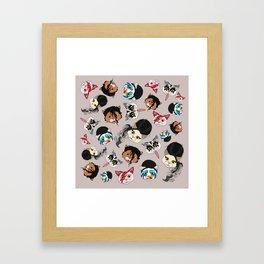 Pop Cats - Pattern French Gray Grey Framed Art Print