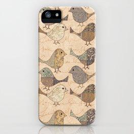 Nostalgic Autumn Patchwork Bird Pattern in warm retro colors #autumndecoration iPhone Case