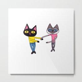 BFF Cats (Pan and Chibi) Metal Print