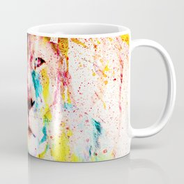 Wild Lion Sketch Abstract Watercolor Splatters Coffee Mug