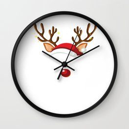Funny Deer Family Matching Christmas Reindeer Party graphic Wall Clock