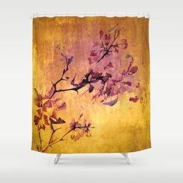 japanese crab apple flowers on golden tones Shower Curtain