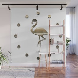 Gold Flamingo Fall Cloud Wall Mural
