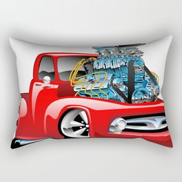 American Classic Hotrod Pickup Truck Cartoon Rectangular Pillow
