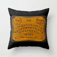 ouija Throw Pillows featuring Ouija 3.0 by tuditees
