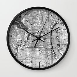Vintage Map of Philadelphia PA (1895) BW Wall Clock