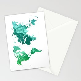 Green watercolor world map Stationery Cards