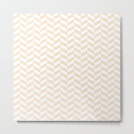 Champagne Brown Herringbone Pattern Metal Print