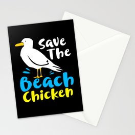 Seagull Funny Save Beach Chicken Seabirds Gull Stationery Cards