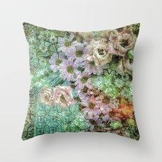 Shabby Retro Floral Throw Pillow