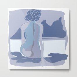 Dreamer girl portrait with scene classic blue colors Metal Print