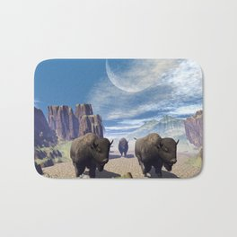 Awesome running bisons Bath Mat