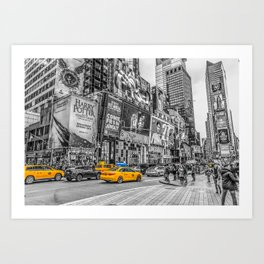 Yellow Taxi's Times Square Art Print