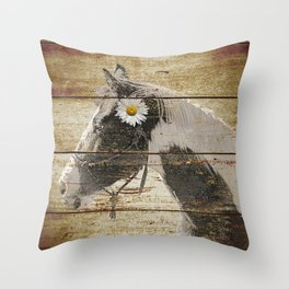 Daisy Flower on Rustic Brown Cream Horse Country Barn Art A166 Throw Pillow