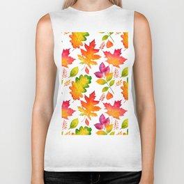 Fall Leaves Watercolor - White Biker Tank