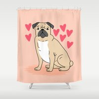 gift card Shower Curtains featuring Pug valentintes day cute gift idea cell phone case with pug greeting card pugs small dog breeds  by PetFriendly