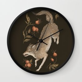 The Wolf and Rose Hips Wall Clock