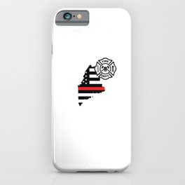 Maine Firefighter Shield Thin Red Line Flag iPhone Case